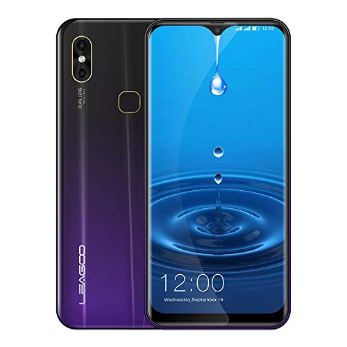 LEAGOO M13 Smartphone, 6.1' FHD 4G Téléphones Portables Débloqués, Android 9.0 Quad Core 4Go+32Go, Appareil Photo 8MP+2MP+5MP, Capteur D'Empreinte Digitale Touch ID, Dual SIM, Face-ID, Violet foncé