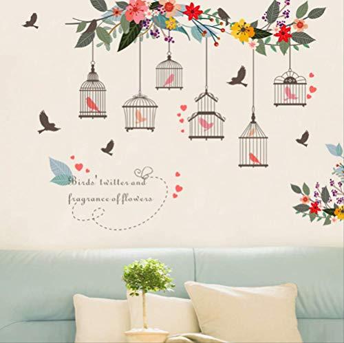Muurstickers Mooie Bloem Wijnstok Vogels Home Decor Vogelkooi Rearing Vogel in Huis Creatieve Muurposters voor Vrouwen Geschenken