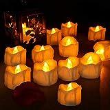 Velas LED, laxikoo 12Pcs Velas de Té LED con Temporizador , Vela Luz parpadeo con Pilas Sin Llama Perfectas para Bodas, Cumpleaños, Fiestas, Navidad, Festivales, Restaurante, Decoración (Amarillo)