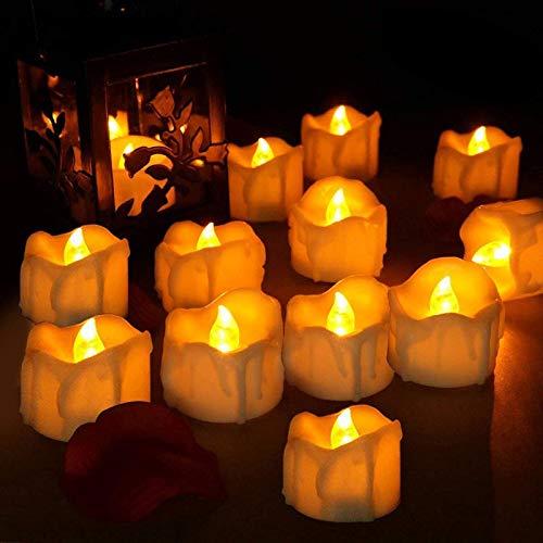 LED Kerzen, laxikoo 12 LED Flammenlose Teelichter mit Timerfunktion, Flackern Kerzen, Elektrische Kerze Lichter Perfekt für Weihnachtsbaum Ostern Hochzeit Party (Batterien Enthalten)