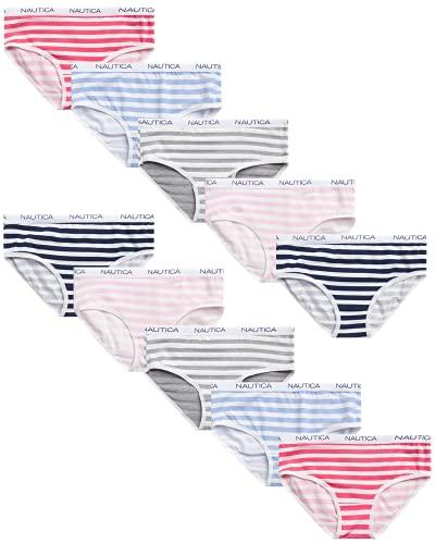 Nautica Girls' Underwear - Stretch Cotton Briefs (10 Pack), Size 7/8, Assorted Stripes