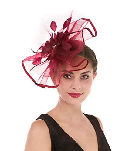 Damen Elegant Fascinator Hut Braut Hair Clip Accessoires Cocktail Royal Ascot (Großen Burgund Mesh)