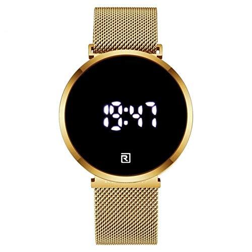 CHICAI Reloj de pulsera digital para hombre con pantalla táctil, de acero completo, resistente al agua, LED de cuarzo (color: caja dorada)