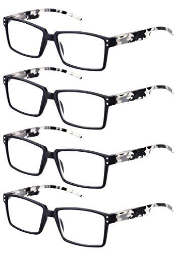 TBOC Gafas de Lectura Presbicia Vista Cansada – [Pack 4 Unidades] Graduadas +1.50 Dioptrías Montura Negra Patillas Camuflaje Negro de Diseño Moda Hombre Mujer Unisex Lentes Aumento Leer Ver Cerca