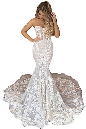 CGown Slim-line Sweetheart-Spitzenapplikation Boho Meerjungfrau Hochzeitskleider mit Zug Brautschmuck Ballkleid Gr. 30, elfenbeinfarben