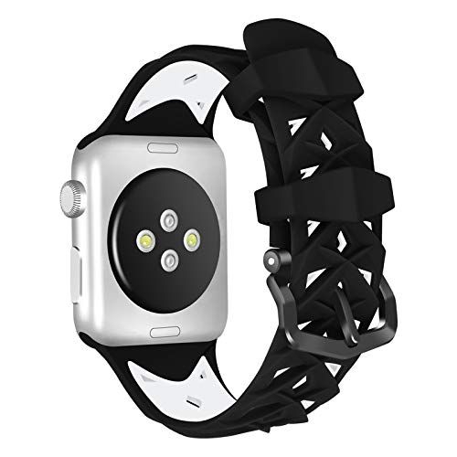 Fhony Correa Compatible con Apple Watch 38mm 40mm 42mm 44mm Correa de Silicona Suave y Agradable para La Piel Pulsera Repuesto Deportiva para Iwatch Series 6 SE 5 4 3 2 1,Black+White,42mm