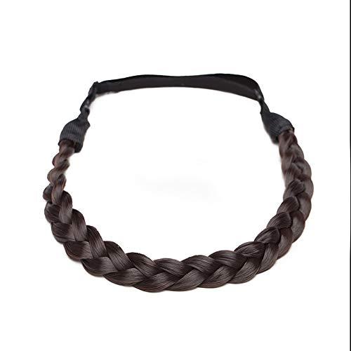 Haarverlängerung Geflochtenes Stirnband Geflochtenes Haarteil Dutt Haargummi mit Haaren Glatt Haarknoten Hochsteckfrisuren für Frauen Dunkelbraun