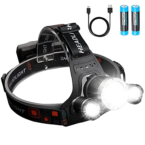 Headlamp Rechargeable,Zhuvatar 6000 High Lumens Brightest Head Lamp 18650 Rechargeable Battery LED Work Headlight IPX6 Waterproof Flashlights 4 Modes for Running Camping Fishing Hiking Biking