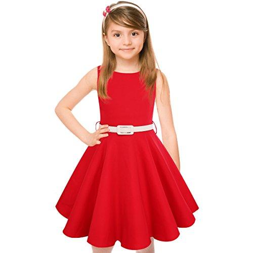 HBBMagic Maedchen Audrey 1950er Vintage Baumwolle Kleid Hepburn Stil Kleid Blumen Kleid Tupfen Kleid, Rot, 5-6 Jahre/114-122 CM
