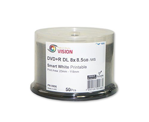 Disc Makers High Class 8.5 GB Blank DVD and R DL -Falcon Vision Smart 2P White Inkjet Hub Printable 8x 8.5 GB 50 Disc Cakebox Dual Layer Blank DVDs
