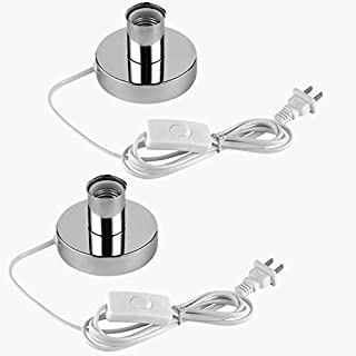 (2PACK) Polished Metal Desktop Lamp Base Ceramic Base Holder 6 ft Cord On/off Switch Plug E26/e27 Screw Base Ideal for CFL Germicidal Lamp,table lamp,Himalayan Salt Lamp Cords, (On-Off Switch)