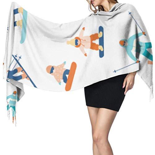 27'x77 Bufanda Mujeres largas Esquiadores y snowboarders Bufanda de dibujos animados Unisex Bufanda divertida Elegante manta grande y cálida