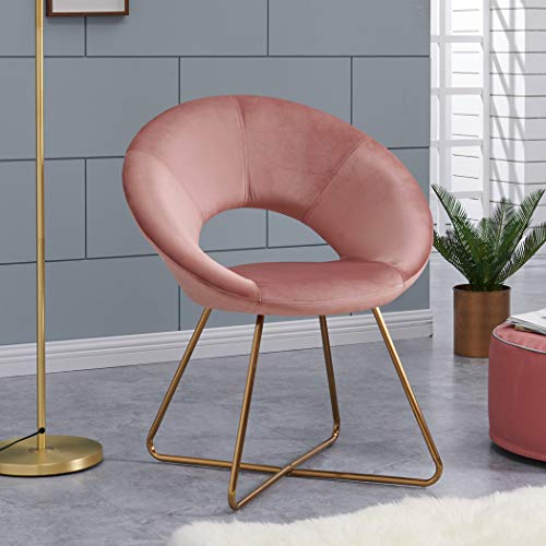 Contemporary Modern Velvet Chairs Single Sofa Comfy Upholstered Arm Accent Chair Living Room Bedroom Furniture Pink 1pcs