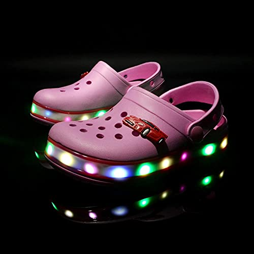 Kirin-1 Chanclas Toalla,Zapatos Ligeros Led Zapatos para NiñOs Sandalias De Playa Zapatos De Playa Cambiar Color Light Glitter Halloween-Rojo_35 Longitud De Zapato 21 Cm