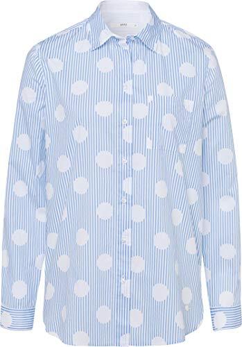 BRAX Damen Style Victoria Cotton Stripes Gepunktete Brusttasche Bluse, Sky Blue, Large (Herstellergröße: 40)