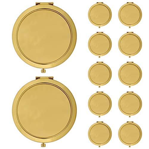 Andaz Press DIY Blank Party Favors for Do It Yourself Bulk Wholesale Gifts, Gold Compact Mirrors, 12-Pack, Baby Bridal Shower Birthday Wedding Thank You