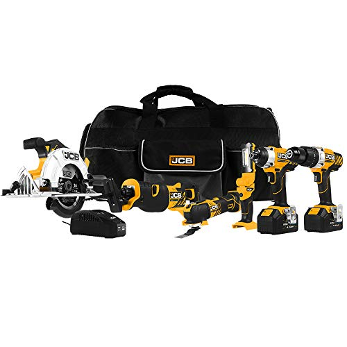 JCB Tools - 20V, 6-Piece Power Tool Kit - Hammer Drill Driver, Impact Driver, Reciprocating Saw, Multi Tool, Circular Saw, LED Work Flashlight, 2 x 4.0Ah Batteries, Fast Charger And Tool Bag