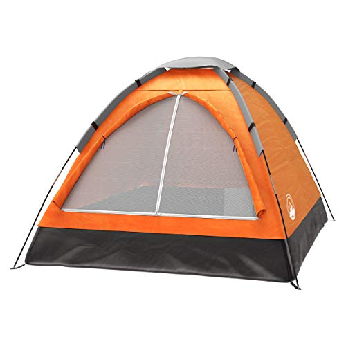 2 Person Dome Tent- Rain Fly & Carry Bag- Easy Set Up-Great for Camping, Backpacking, Hiking & Outdoor Music Festivals by Wakeman Outdoors (Orange), 2 Person