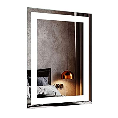 DECORAPORT 36 Inch * 28 Inch Horizontal LED Wall Mounted Lighted Vanity Bathroom Silvered Mirror with Touch Button (A-CK010-I)