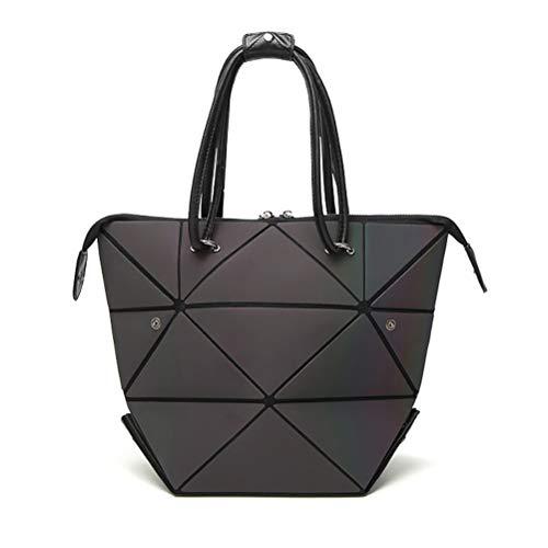 Suszian Geometrische Einkaufstasche, Handtasche mit veränderbarer Form für Damen Leuchtende Handtasche Gittermuster Geometrische Tasche Tragegriff Schultertasche Umhängetaschen Einkaufstaschen