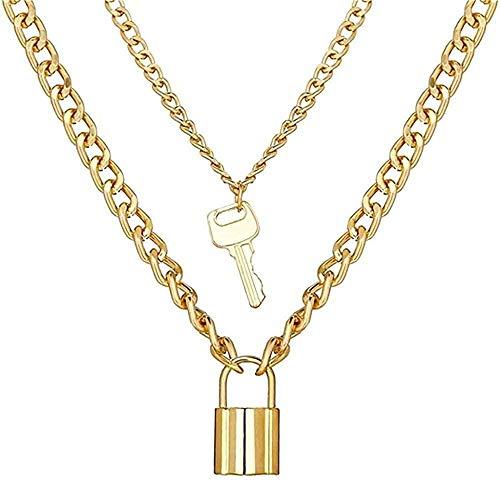 Aluyouqi Co.,ltd Halsband halsband med hänglås och nyckelring halsband set för kvinnor män bohemiskt flerskikts hänge kraghalsband