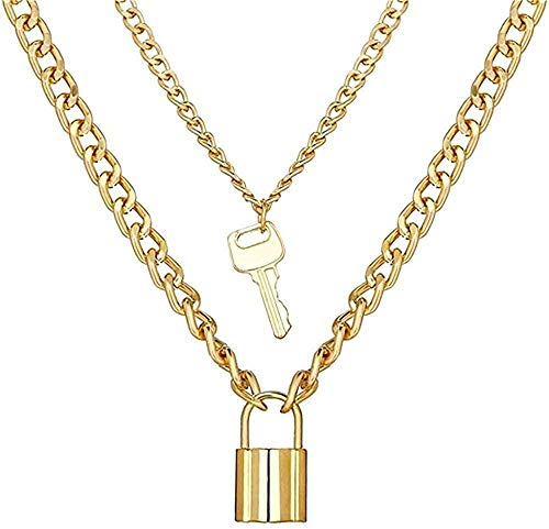 GLLFC Necklace for Women Men Necklace Creative Necklace with Padlock and Keychain Necklace Set for Women Men Bohemian Multilayer Pendant Choker Necklace Jewelry Necklace Pendant Chain for Women Men