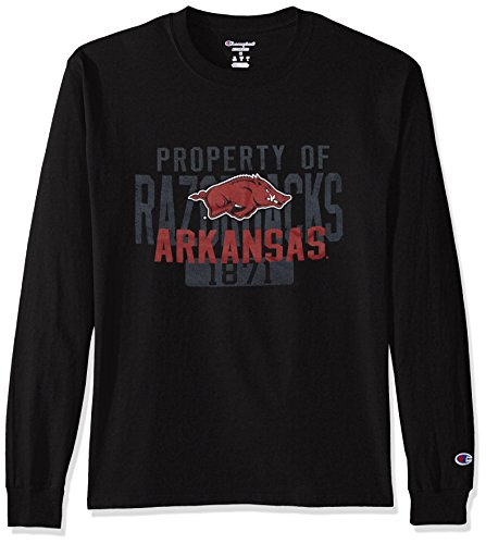 Champion NCAA Men's Long Sleeve Lightweight T-shirt Officially Licensed 100% Cotton Tagless Tee Arkansas Razorbacks XX-Large Arkansas Razorbacks Ncaa Basketball
