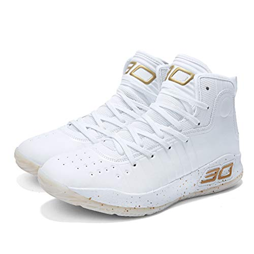 ADJOY9 Men's Women's High Top Basketball Shoes Unisex Running Jogging Walking Sneakers Sports Trainers for Youth Students Teenagers(WhiGold2100/7.5M-40)