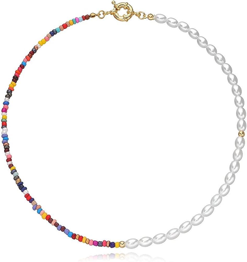 Pingyongchang Bohemian Bead Pearl Shell Choker Necklace Bracelet Set for Women Girls Handmade Colorful Seed Beaded Choker for Women Jewelry