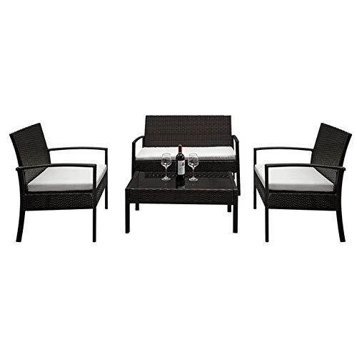 OYZK 4pcs / Set sillones Asiento de Amor de Cristal Templado Mesa de café Rota del sofá de la Sala Principal Asiento de recreo (Color : A1)