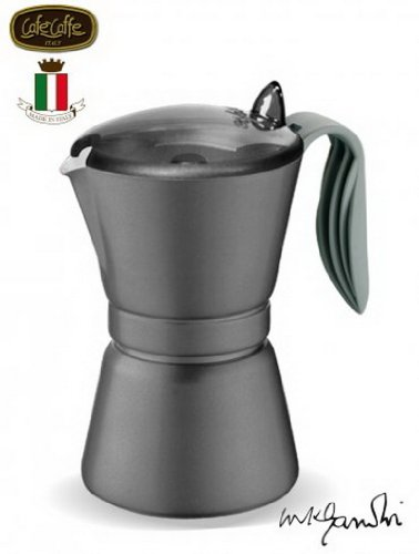 GAT Italy - Cafetera Italiana de 3 Tazas, Aluminio, Color Negro, 10 x 14 x 16 cm