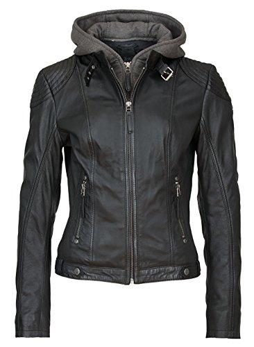 Gipsy tolle Damen Lederjacke Kapuze in Schwarz aus Echtleder (L)