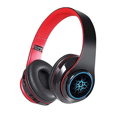 Auriculares Bluetooth 5.0 Volcano Pattern Headset,Bass Inalámbricos con micrófono para manos libres, sonido envolvente plegable, Ear Hi-Fi Stereo Headset Wired auriculares con graves profundos (A)