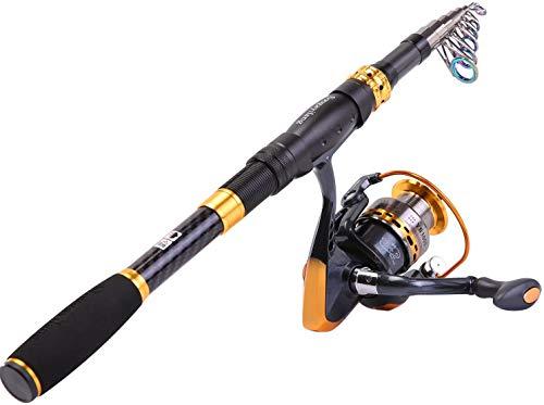 Sougayilang - Carrete de caña de pescar telescópico de fibra de carbono con carrete giratorio para viajes en agua salada y pesca de agua dulce, 2.4M/7.87Ft, Solo caña de pescar y carrete.