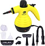 MLMLANT Multi-Purpose Handheld Pressurized Steam Cleaner with 9-Piece Accessory Kit for Multi-Surface Stain Removal, Floor Steamer, Window, Counters, Carpets, Car Seats, Upholstery (Yellow)