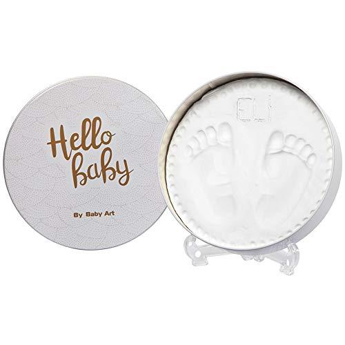 Baby Art - Geschenkbox aus Metall, Rund, besondere Geschenke Box mit Gipsabdruck zum Selbermachen für Baby Fußabdruck oder Handabdruck, Shiny Vibes