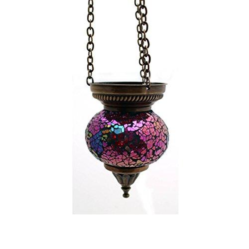 Mosaik Lampe Hängelampe Windlicht Pendelleuchte Aussenleuchte Deckenleuchte aus Glas Teelichthalter Orientalisch Handarbeit dekoration - Gall&Zick (Rosa S)