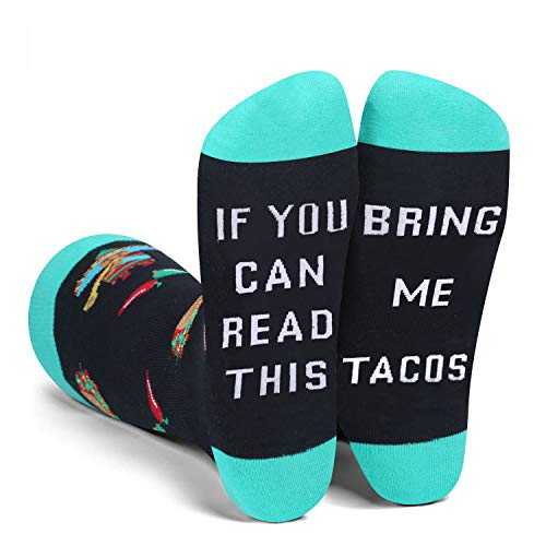 Men's Novelty Funny Saying Taco Crew Socks If You Can Read This...