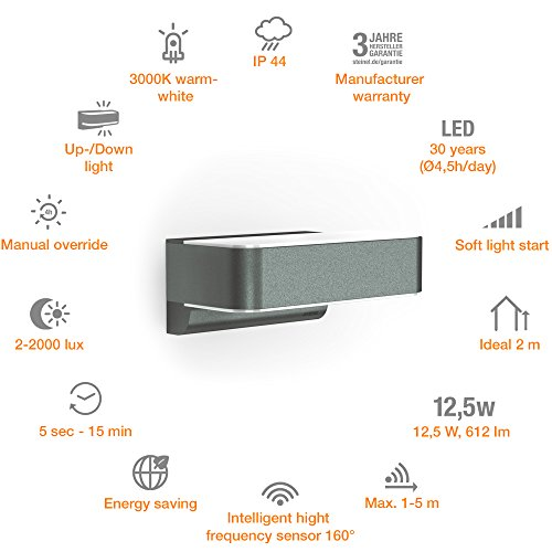Steinel LED Outdoor Light L 810 LED iHF Anthracite - 12.5 W Up-/Downlight, 858 lm, Warm White, Outdoor Wall Light, 160° Motion Detector