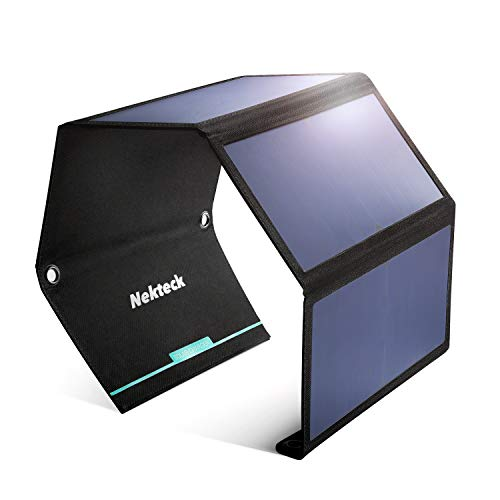Nekteck 28W Foldable Portable Solar Charger with 2 USB Port, IPX4 Waterproof Hiking Camping Gear Sunpowered Charger Compatible with iPhone 12/11/11pro/Xs, iPad, MacBook, Samsung Galaxy, Camera etc.
