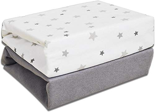 100% Organic Jersey Cotton Baby Travel Cot Fitted Sheets Universal 95 x 65cm 2 Pack Stars