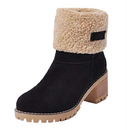 NEOKER Damen Winterschuhe Schneestiefel Plateau Shorts Stiefel Chunky Heels Boots Stiefeletten Fell Bequeme Gefüttert Mode Schuhe 6 cm Schwarz 40