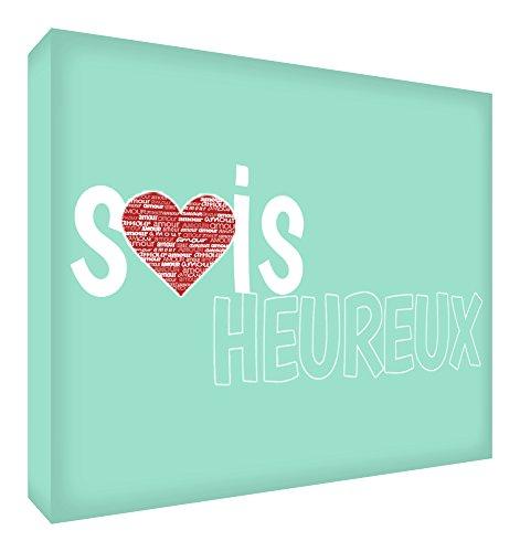 Feel Good Art Sois Heureux Bloc Décoratif en Acrylique Transparent Poli comme Diamant Vert Menthe 10,5 x 7,4 x 2 cm