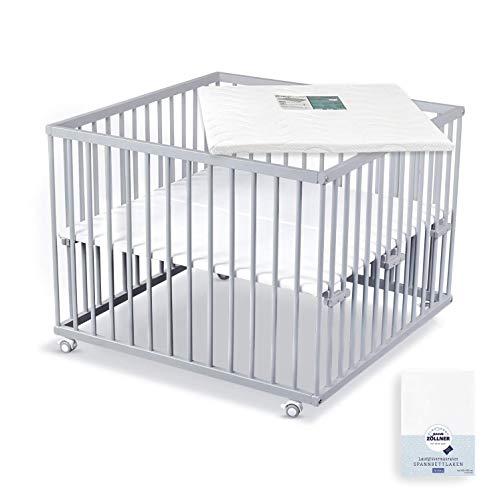 Sämann Laufgitter 100x100 cm mit Matratze, TÜV geprüft 2020, stufenlos höhenverstellbar, Baby Laufstall, Buche (grau, inkl. Spannbetttuch)