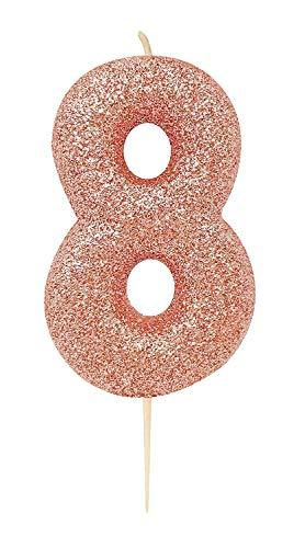 CROSSWEAR AHC50/8 Rose Gold Glitter modellato numero 8 pick candela-1 pz