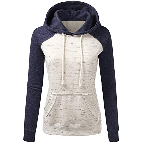 Color Block Pullover Hoodie Sweatshirt for Women Casual Tunic Tops Long Sleeve Hooded Sweatshirts with Pockets Navy