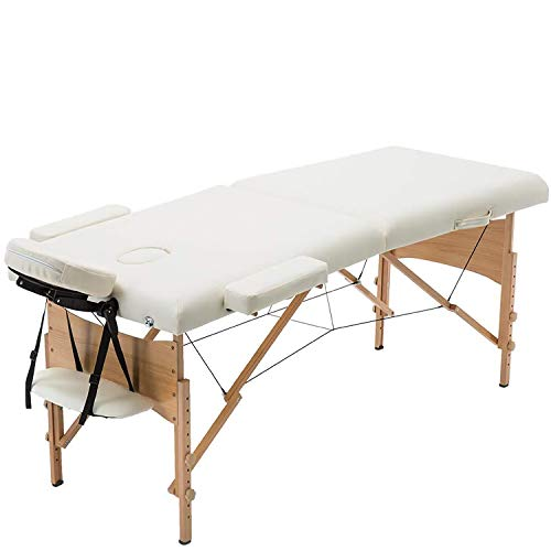 Massage Table Portable Bed Spa Bed 73 Inches Height Adjustable Massage Table 2 Folding Massage Bed 73 Inches Spa Bed Facial Cradle Salon Bed W/Carry Case