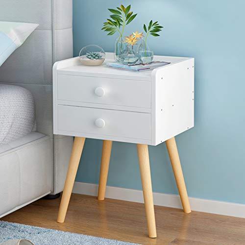 NYDZDM trä sängbord med låda sängbord sovrum förvaringsskåp sängbord skåp säng litet skåp (färg: Vit, storlek: B)