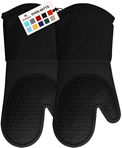 HOMWE Professional Silicone Oven Mitt, Oven Mitts with Quilted Liner, Heat Resistant Pot Holders, Flexible Oven Gloves, Black, 1 Pair, 13.7 Inch