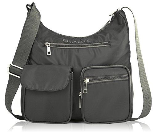 Suvelle Lightweight Carryall Travel RFID Blocking Protection Crossbody Bag Multi Pocket Shoulder Handbag BA10